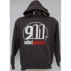 """Einzelstück Kapuzenpullover """"9/11 Selbst gemacht"""" in M, grau"""